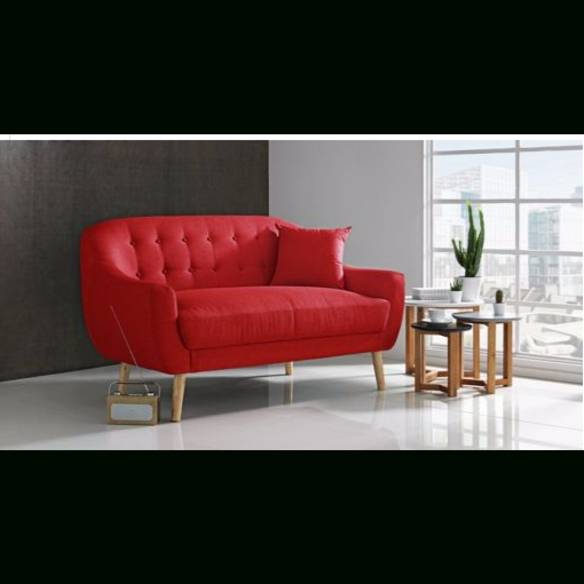2019 Fabric Sofas Within Hygena Lexie Retro Compact Fabric 2 Seater Sofa – Poppy Red (View 2 of 20)