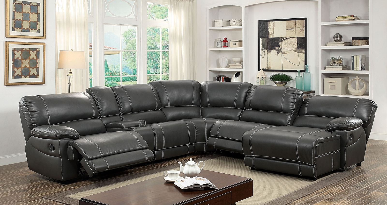2019 Furniture Of America 6131gy Gray Reclining Chaise Console For Sectional Sofas With Consoles (View 14 of 20)