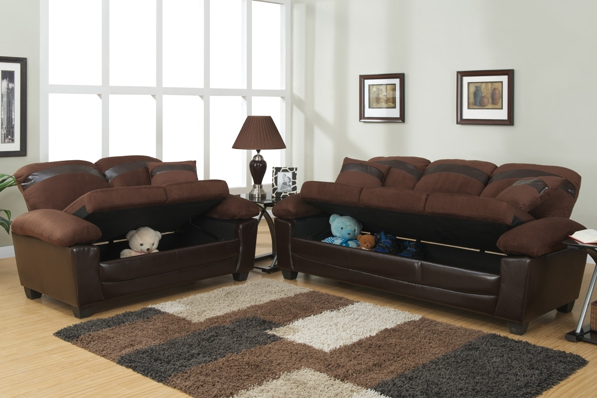 2019 Gabe Brown Leather Sofa And Loveseat Set With Storage – Steal A Within Leather Sofas With Storage (View 3 of 20)