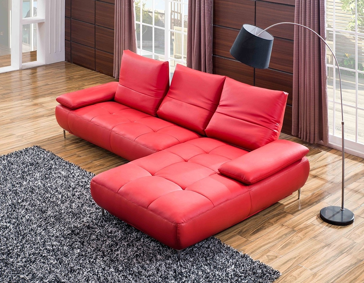 2019 Glamorous Genuine Leather Chesterfield Sofa As Well As Modern Pertaining To Red Faux Leather Sectionals (View 8 of 20)