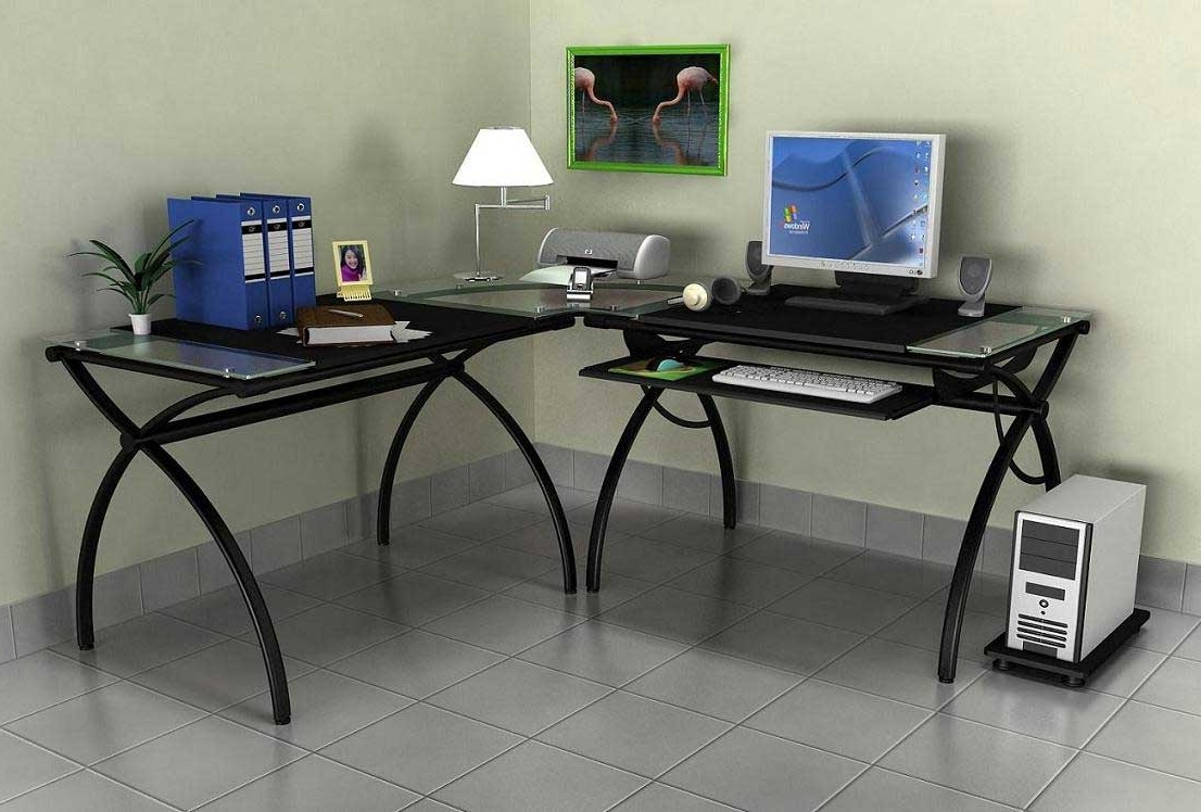 2019 Glass Computer Desks Pertaining To Black Glass Top Computer Desk – New Furniture (View 1 of 20)