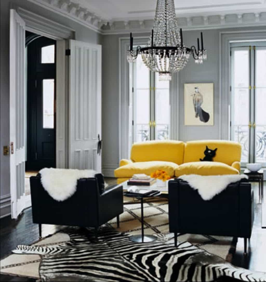 2019 Gray Living Room With Yellow Sofa And Black Side Chairs – Popular With Yellow Sofa Chairs (View 16 of 20)