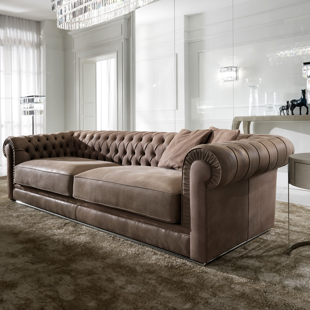 2019 High End Sofas In High End Italian Nubuck Leather Button Upholstered Sofa (View 1 of 20)