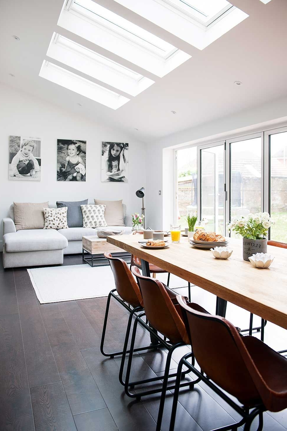 2019 Industrial Kitchen Extension Dining Living Rooflights With Sofa Intended For Sofas For Kitchen Diner (View 2 of 20)