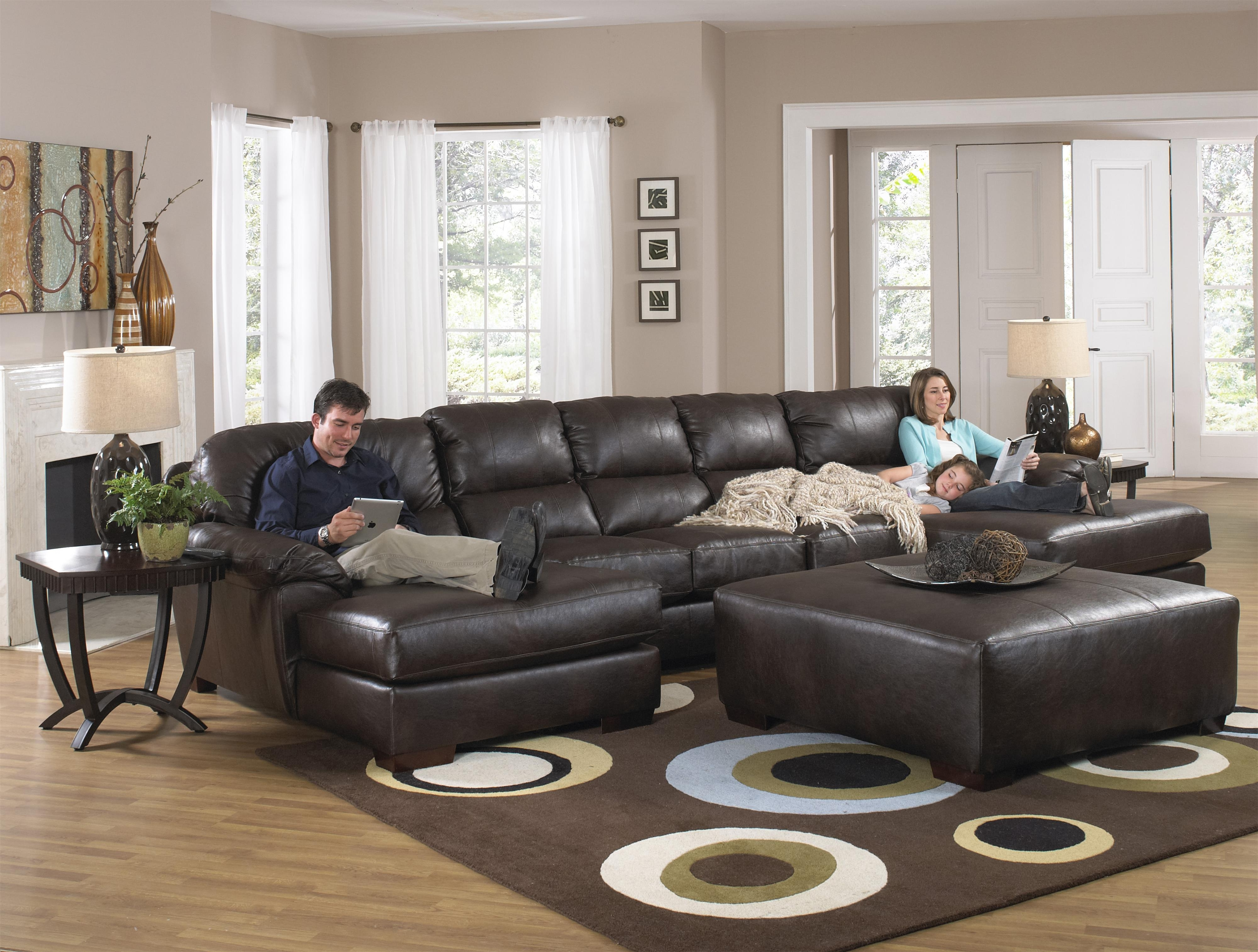 2019 Leather Sectional Sofas With Ottoman With Regard To Furniture : Two Chaise Sectional Sofa With Five Total Seats (View 2 of 20)