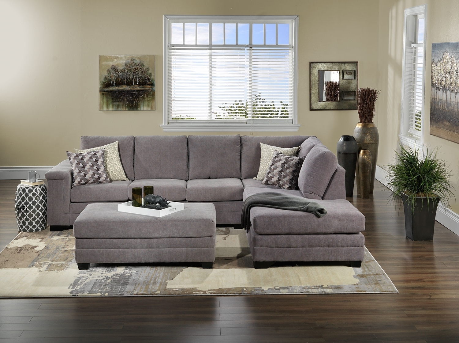2019 Leons Sectional Sofas Regarding Leighton 2 Piece Sectional With Left Facing Chaise – Grey (View 2 of 20)