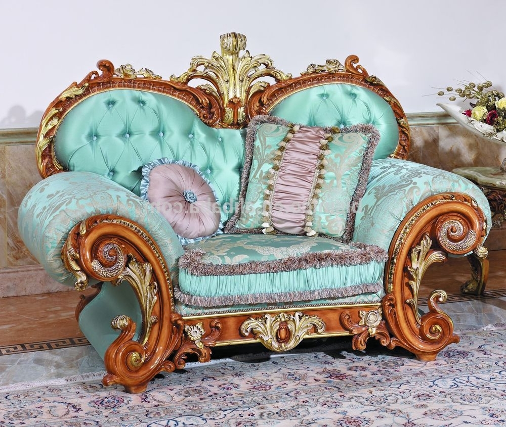 2019 Luxury French Baroque Style Living Room Blue Sofa Set/fancy Palace In Fancy Sofas (View 9 of 20)