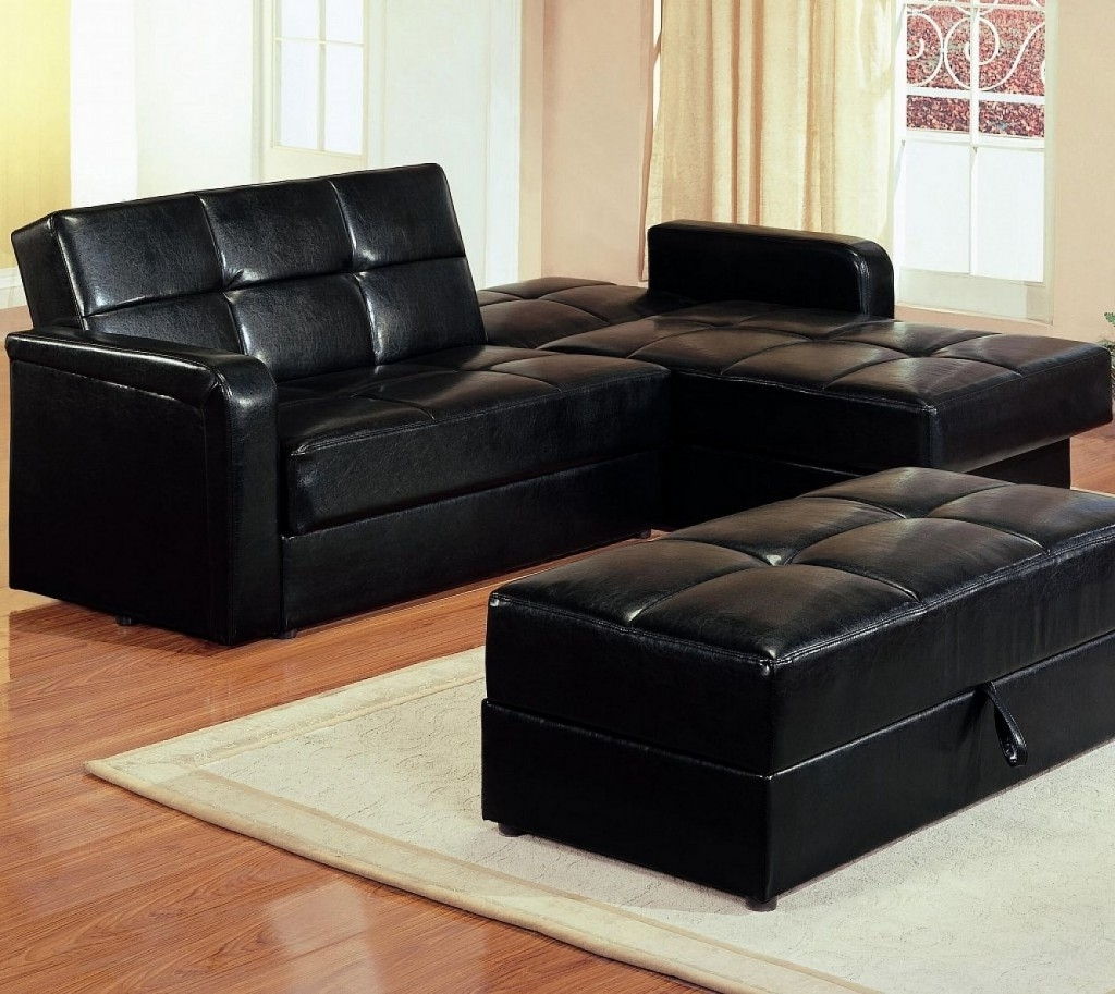 2019 Maximizing Small Living Room Spaces With American Black Leather Within Sectional Sleeper Sofas With Ottoman (View 3 of 20)