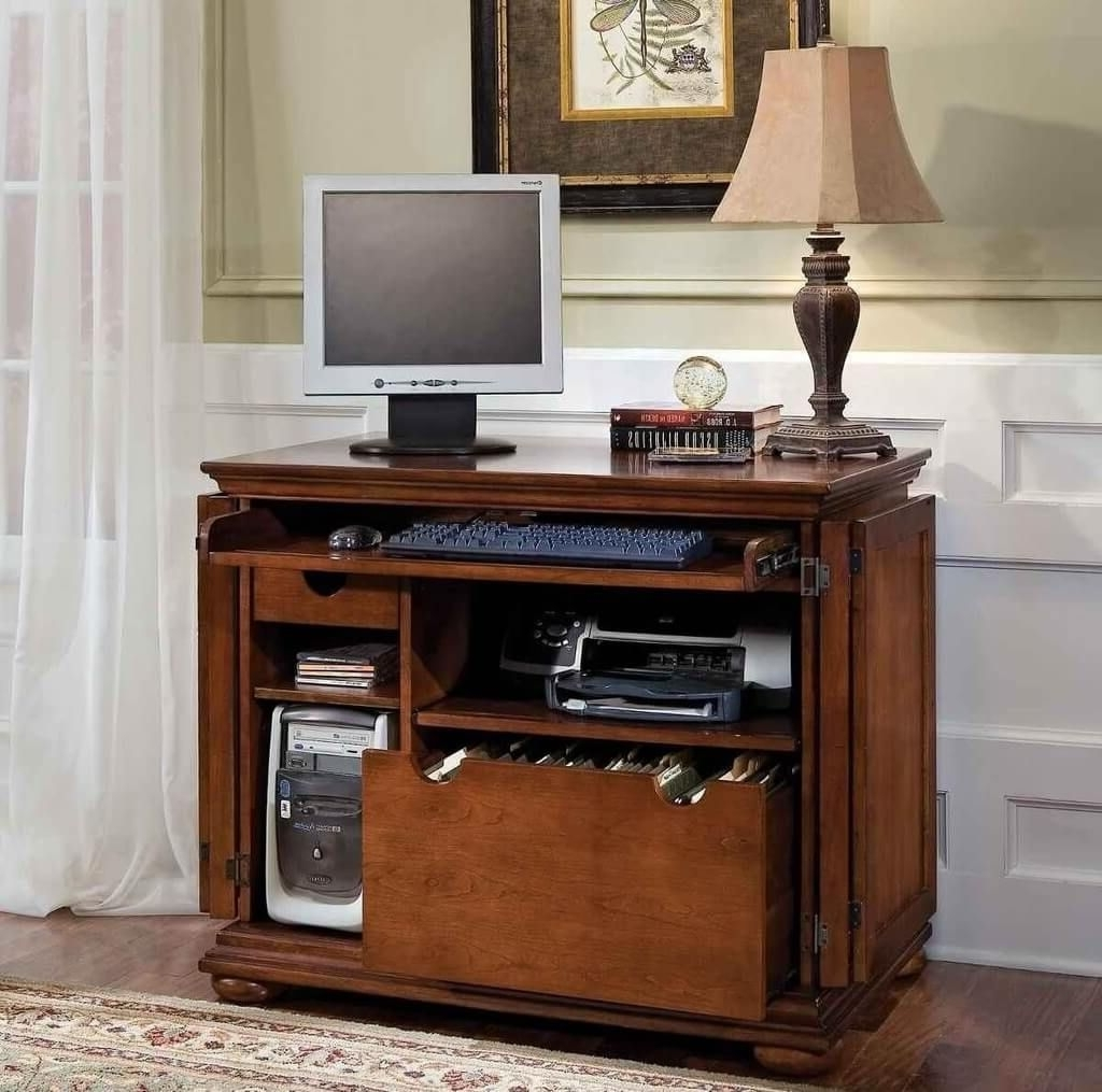 2019 Old Style Computer Desk For Small Spaces With Lamp Ideas A Space Throughout Computer Desks For Small Spaces (Gallery 18 of 20)