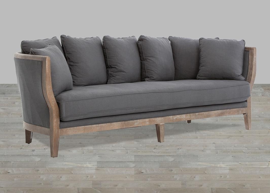 2019 One Cushion Sofa Gray Linen Whitewash Legs Pertaining To One Cushion Sofas (View 3 of 20)