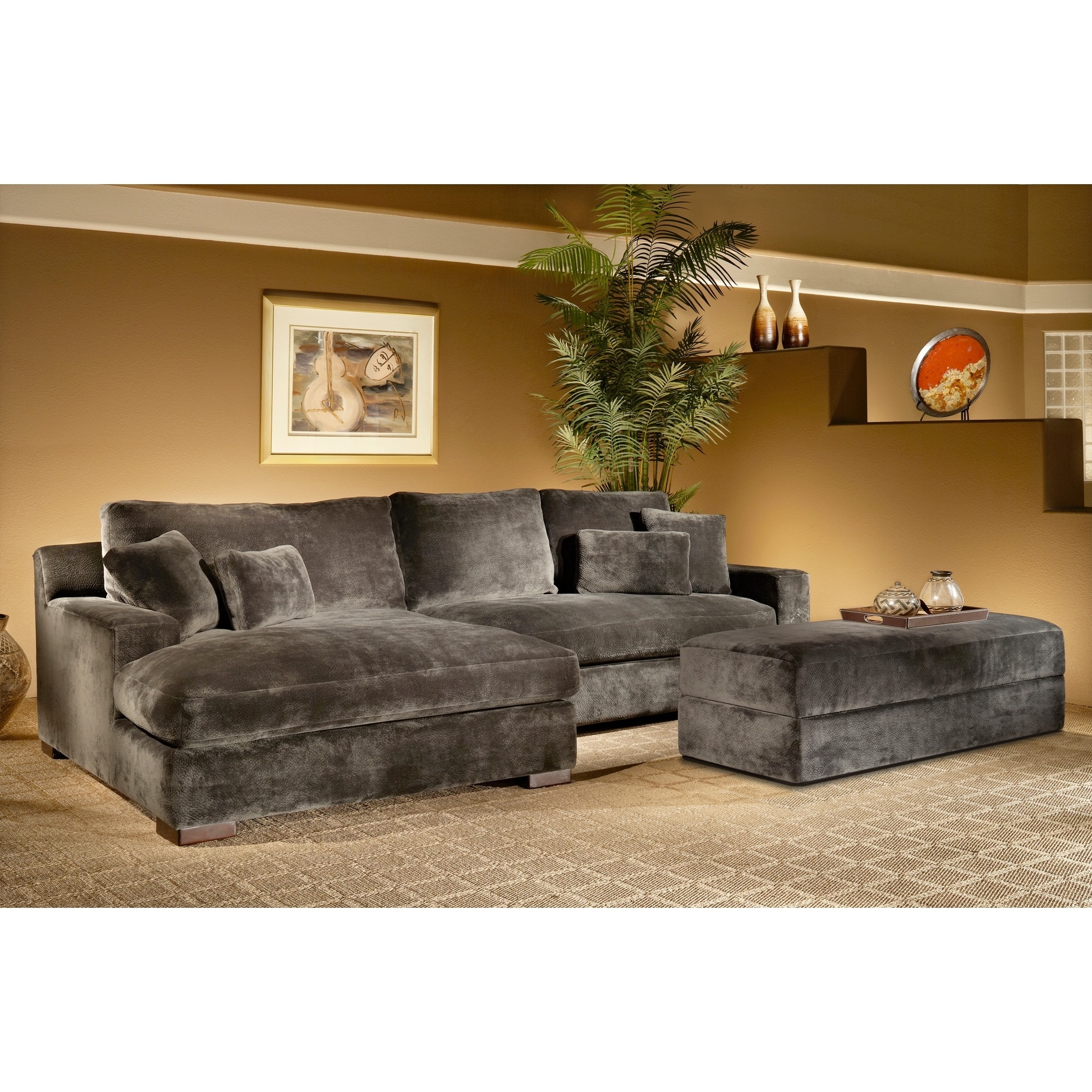 2019 Overstuffed Sofas And Chairs Regarding The Doris 3 Piece Smoke Sectional Sofa With Storage Ottoman Is (View 10 of 20)