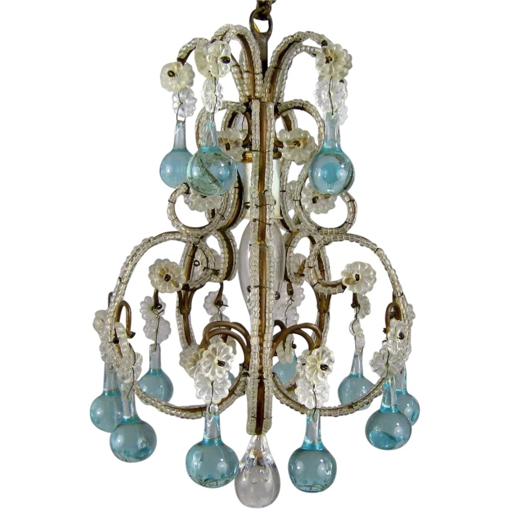 2019 Petite Vintage Beaded Birdcage Chandelier Aqua Blue Prisms Powder Regarding Turquoise Birdcage Chandeliers (View 9 of 20)