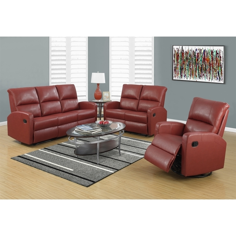 2019 Red Faux Leather Sectionals In Shop Monarch Specialties Casual Red Faux Leather Sectional At (View 3 of 20)