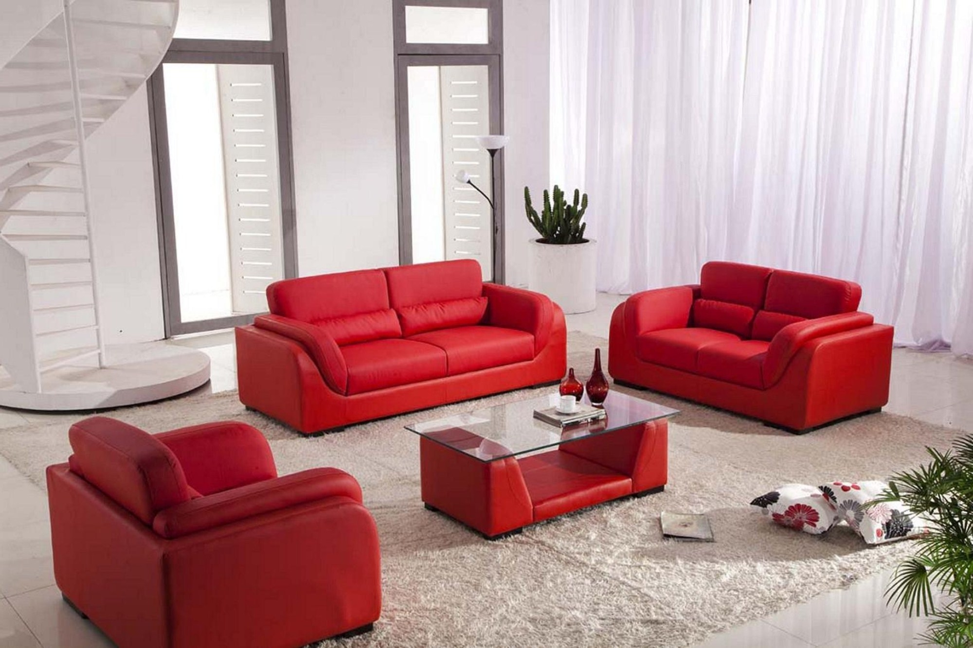 2019 Red Leather Couches For Living Room Pertaining To Living Room Attractive Ideas With Red Leather Sofa And Glass Table (View 2 of 20)