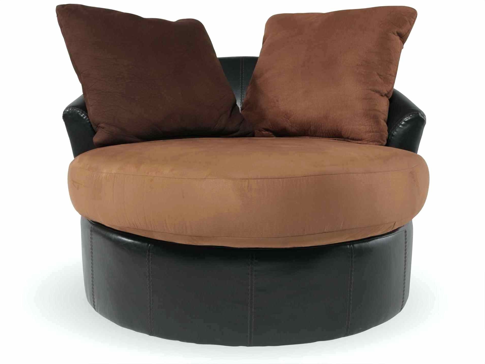 2019 Round Swivel Cuddle Chair Large Dfs Black Leather With Footstool In Snuggle Sofas (View 2 of 20)
