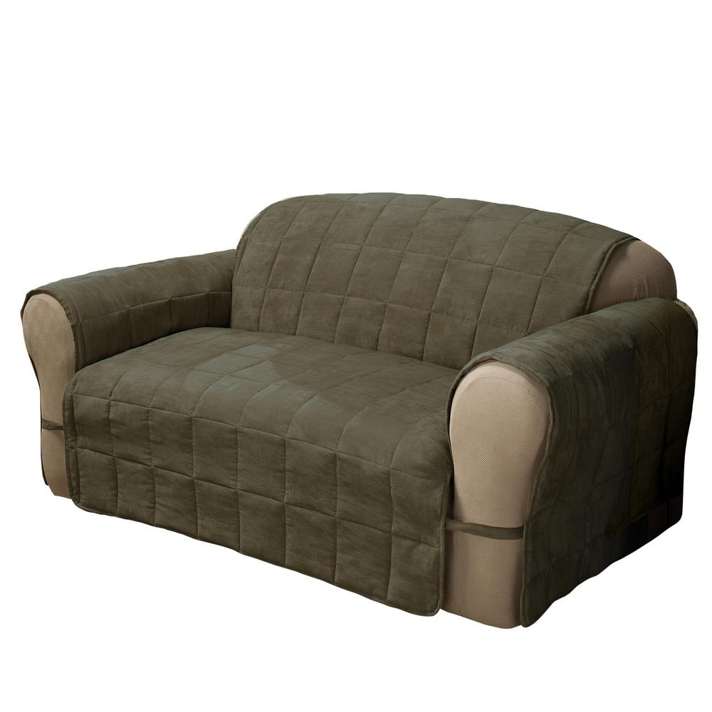 2019 Sage Ultimate Faux Suede Sofa Protector Ultsofasage – The Home Depot For Faux Suede Sofas (View 6 of 20)