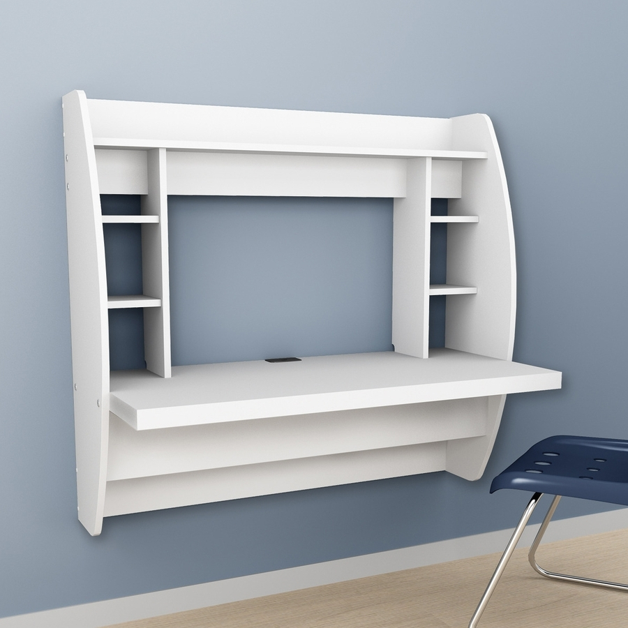 2019 Shop Prepac Furniture Transitional White Floating Desk At Lowes Within Wall Computer Desks (View 2 of 20)