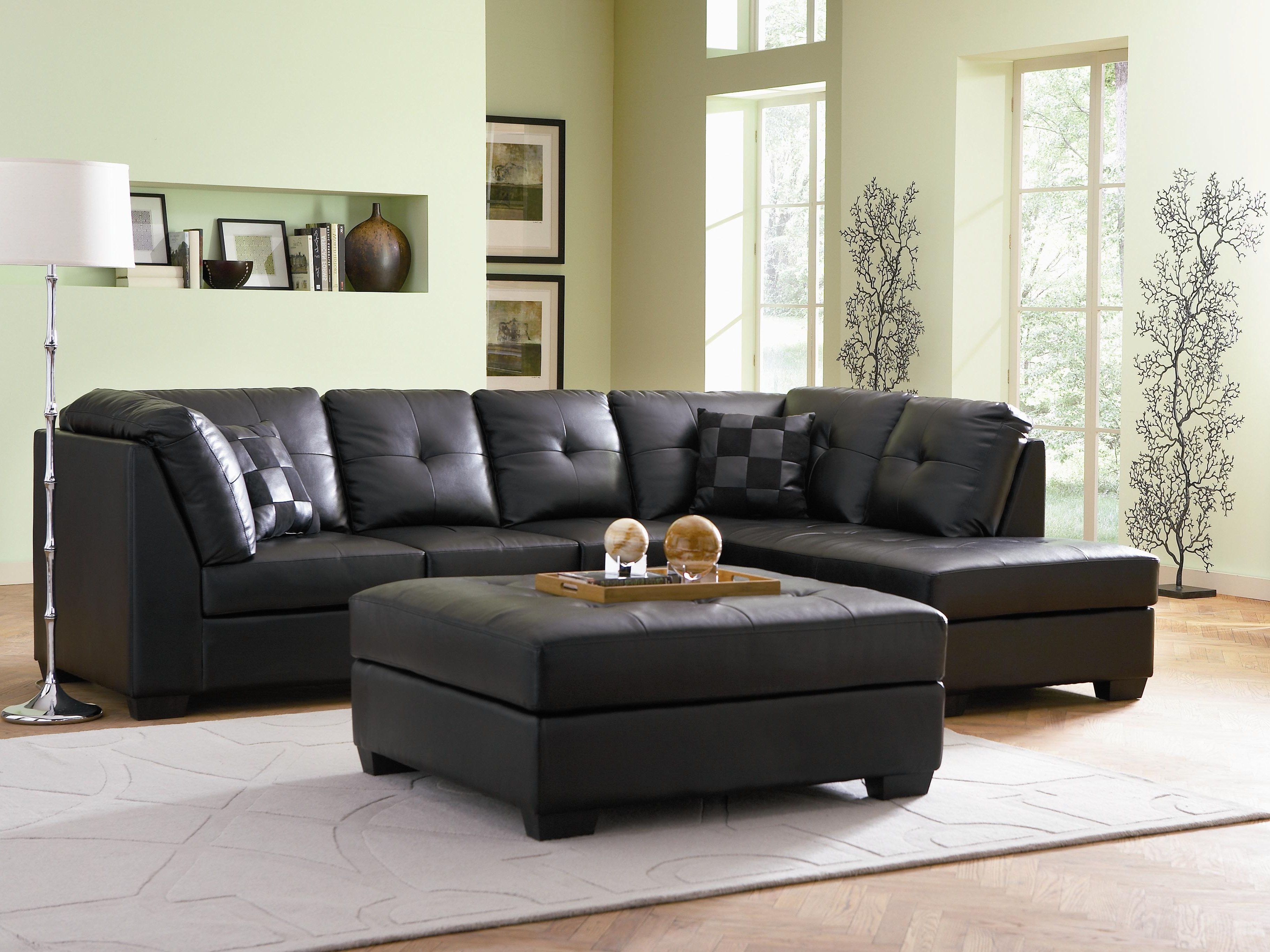 2019 Small Sectional Sofas With Chaise And Ottoman Pertaining To Darie Contemporary Style Black Bonded Leather Sofa Sectional W (View 1 of 20)