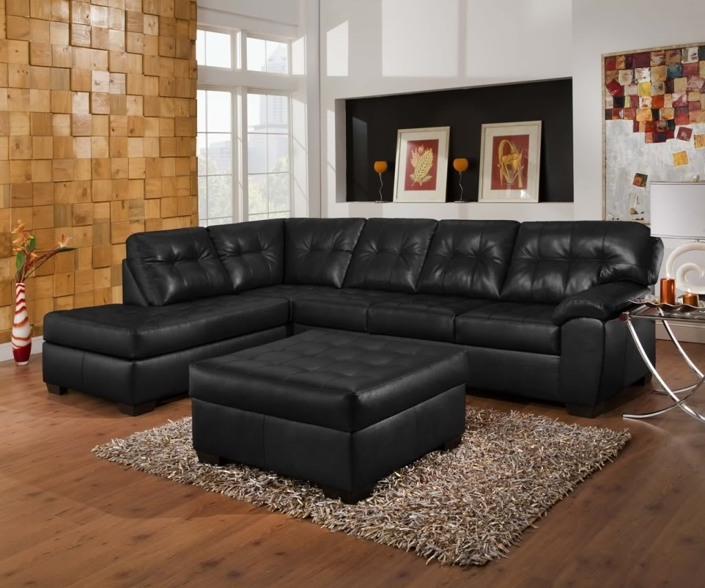 2019 Soho Contemporary Black Bonded Leather Tufted Sectional Sofa W Pertaining To Simmons Sectional Sofas (View 3 of 20)