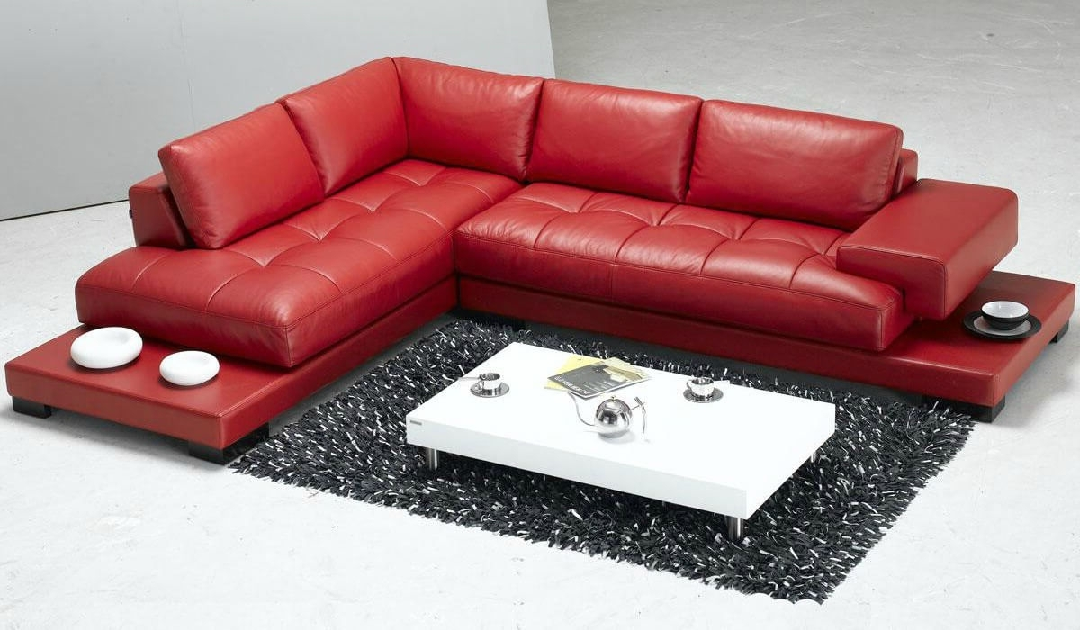 2019 Stylish Modern Red Sectional Sofas In Red Leather Sectionals With Chaise (View 17 of 20)