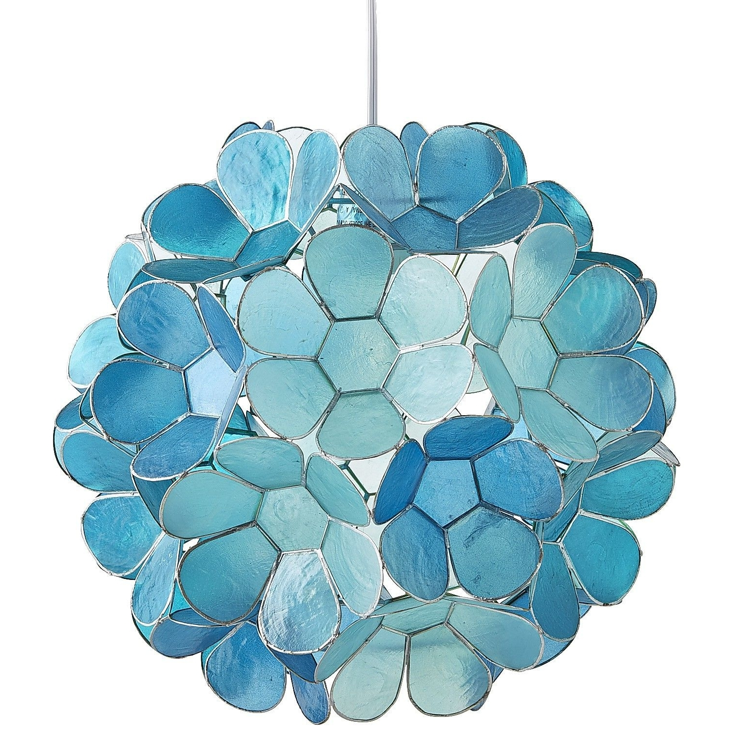 2019 Turquoise Pendant Chandeliers In Daisy Capiz Pendant Light (View 2 of 20)