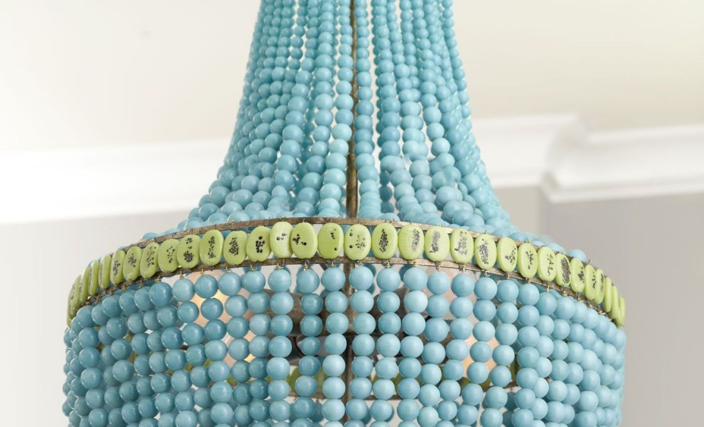2019 Turquoise Wood Bead Chandeliers Pertaining To Chandelier : Turquoise Chandelier Light Fixture With Chandeliers (View 3 of 20)