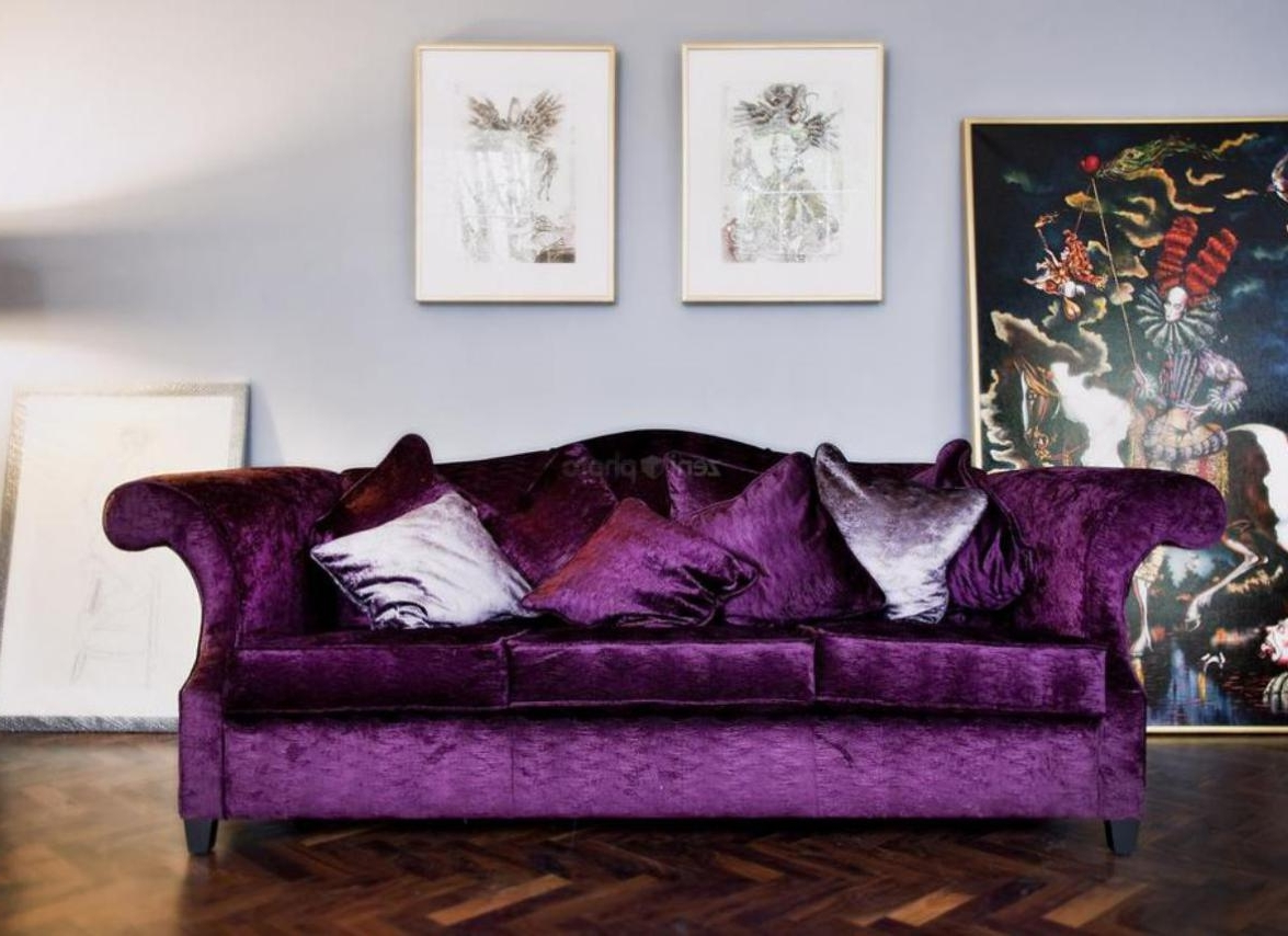 2019 Velvet Purple Sofas Intended For Sofa : Velvet Purple Sofas Superb Purple Velvet Sofa Bed (View 12 of 20)