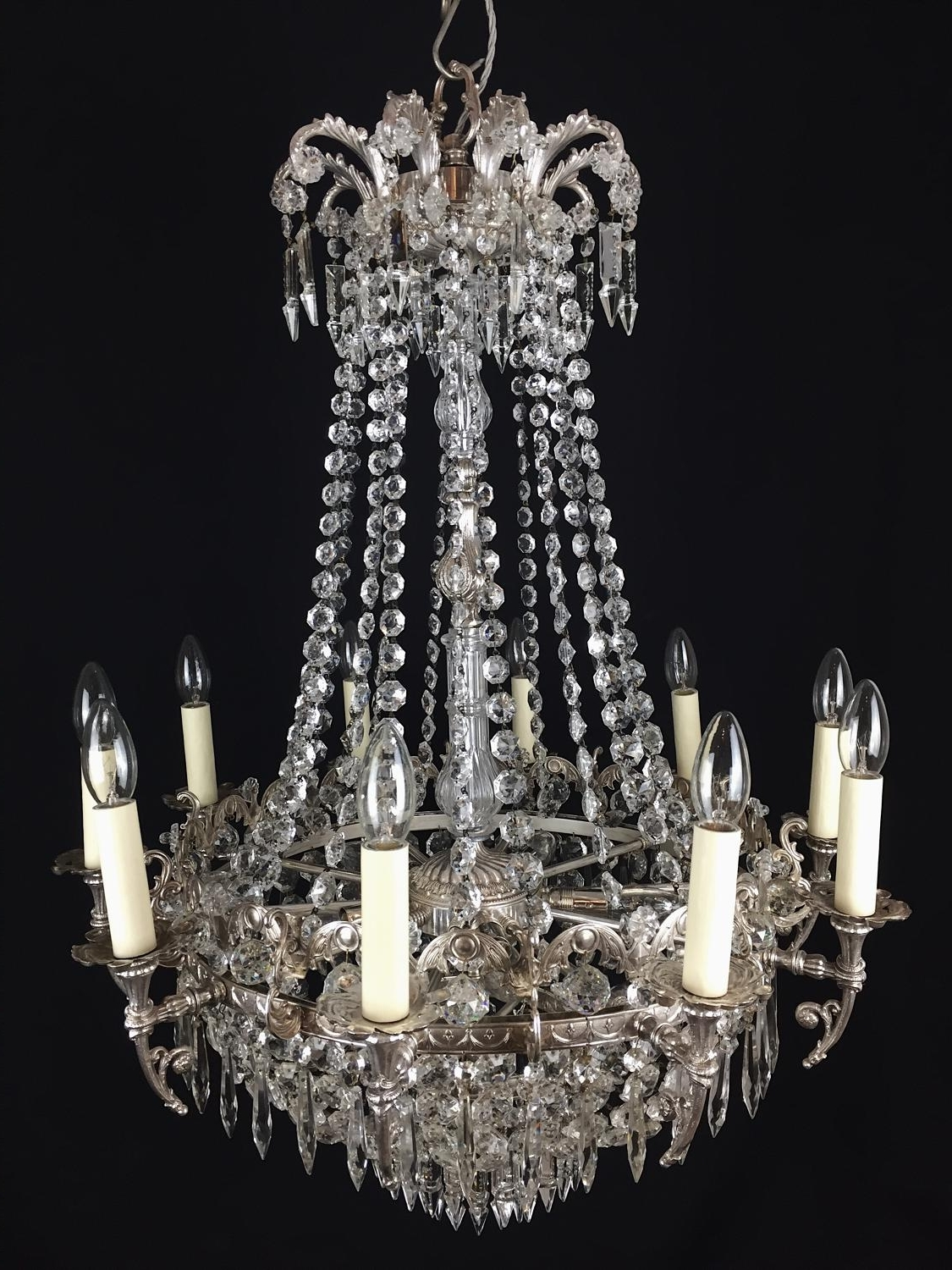 2019 Waterfall Chandeliers Regarding A Pair Of Silvered Brass, Waterfall Chandeliers In Chandeliers (View 2 of 20)