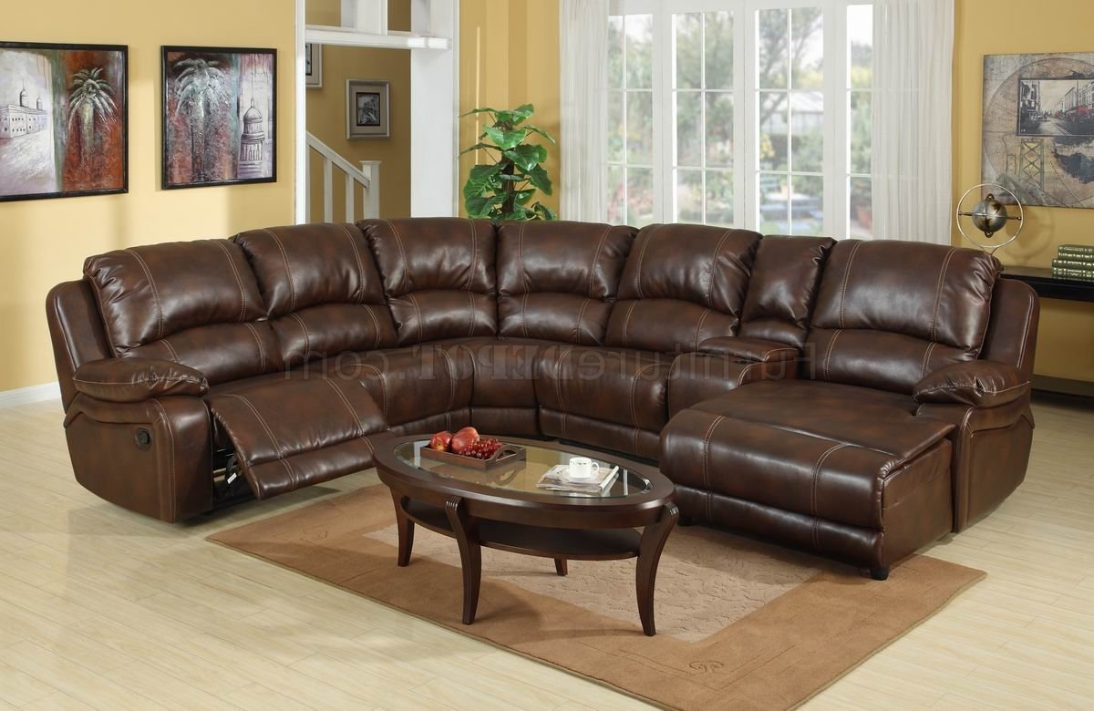 2019 Wine Bonded Leather Modern Reclining Sectional Sofa W/console In Sectional Sofas With Consoles (View 3 of 20)