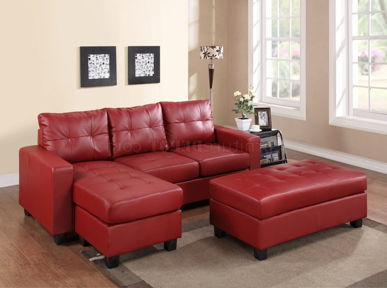 2511 Sectional Sofa Set In Red Bonded Leather Match Pu Throughout Well Known Red Leather Sectional Couches (View 13 of 20)