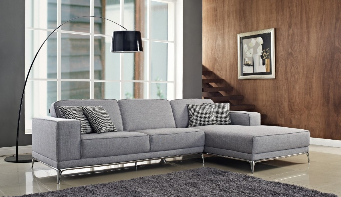 3 Piece Gray Color Sectional Sleeper Sofa With Stainless Steel With Popular 3 Piece Sectional Sleeper Sofas (View 18 of 20)