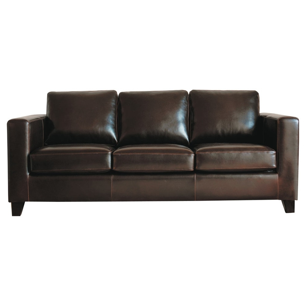3 Seater Split Leather Sofa Bed In Chocolate (View 7 of 20)