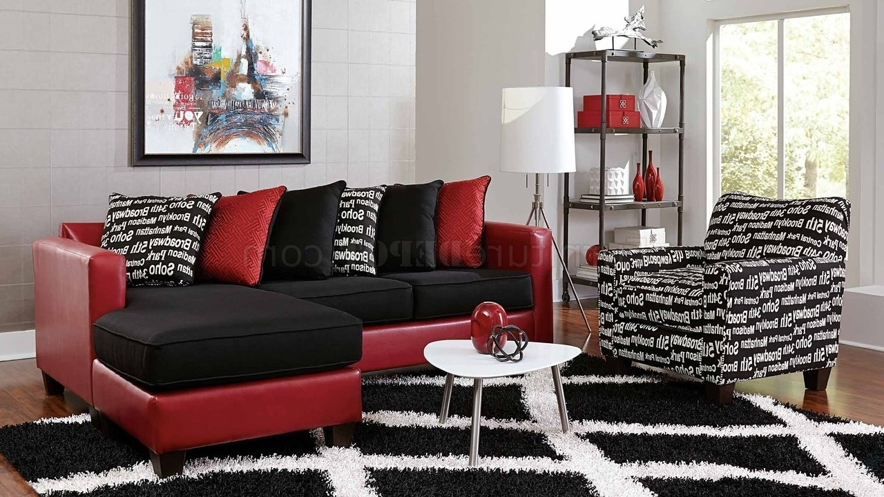 3006 Sectional Sofa In Red Bicast & Black Microfiber Regarding Famous Red Black Sectional Sofas (View 7 of 20)