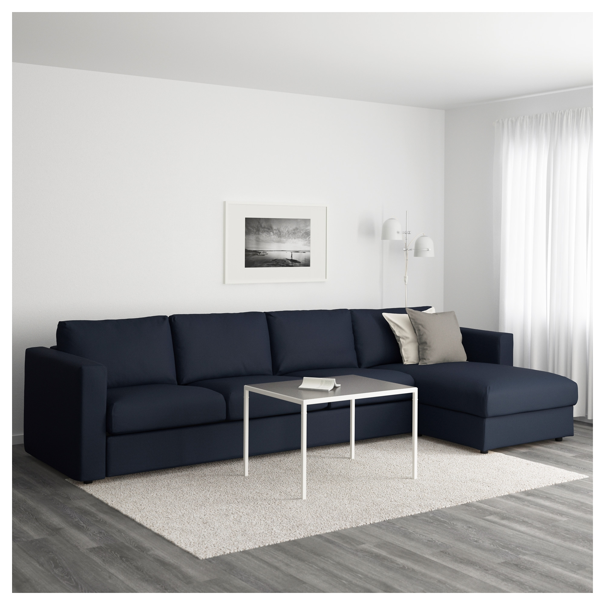 4 Seat Sofas For Recent Vimle Sofa With Chaise Longue Gräsbo Black Blue