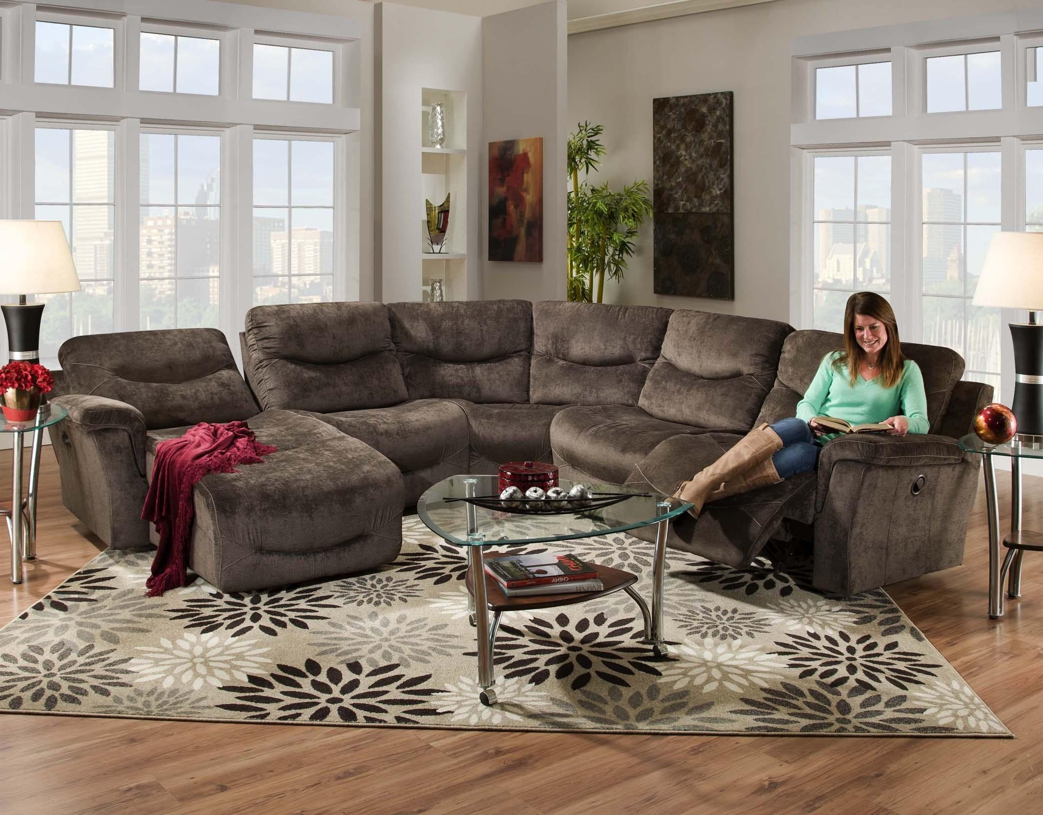 5 Pc Toletta Ii Collection Granite Colored Fabric Sectional Sofa For Most Current Sofas With Consoles (View 3 of 20)