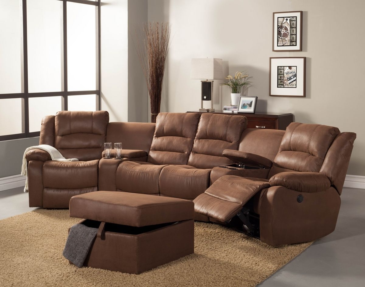 5 Pc Tucker Collection Brown Bomber Jacket Microfiber Upholstered For Most Recently Released Sectional Sofas With Consoles (Gallery 13 of 20)