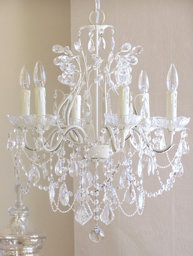 6 Light Leafy Antique White Crystal Chandelier – Rosenberryrooms With Well Known White And Crystal Chandeliers (View 2 of 20)