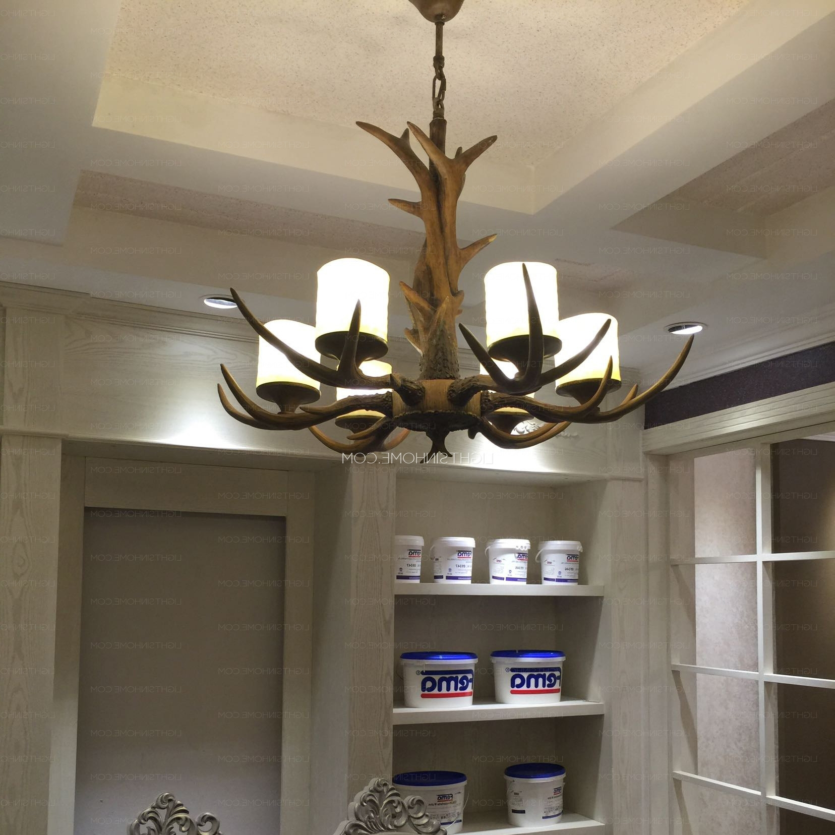 6 Light Resin Cylinder Shade Glass Antler Chandelier Pertaining To Best And Newest Turquoise Antler Chandeliers (View 2 of 20)
