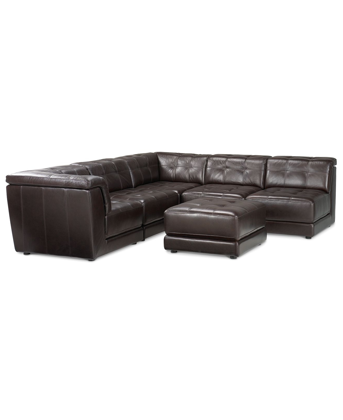 6 Piece Leather Sectional Sofas For Most Current Macy's Stacey Leather Sectional Sofa, 6 Piece Modular (3 Armless (View 4 of 20)
