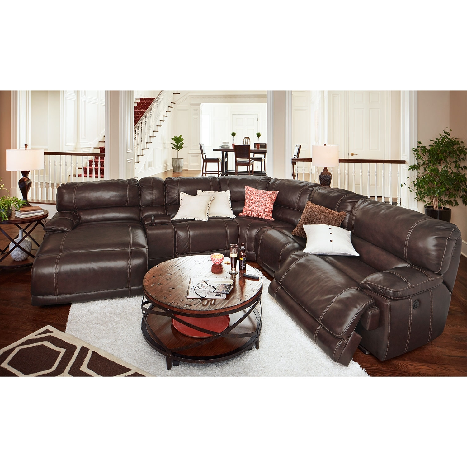 6 Piece Leather Sectional Sofas With Regard To Current Big Softie 6 Pc. Power Reclining Sectionalone80 White Leather (Gallery 14 of 20)