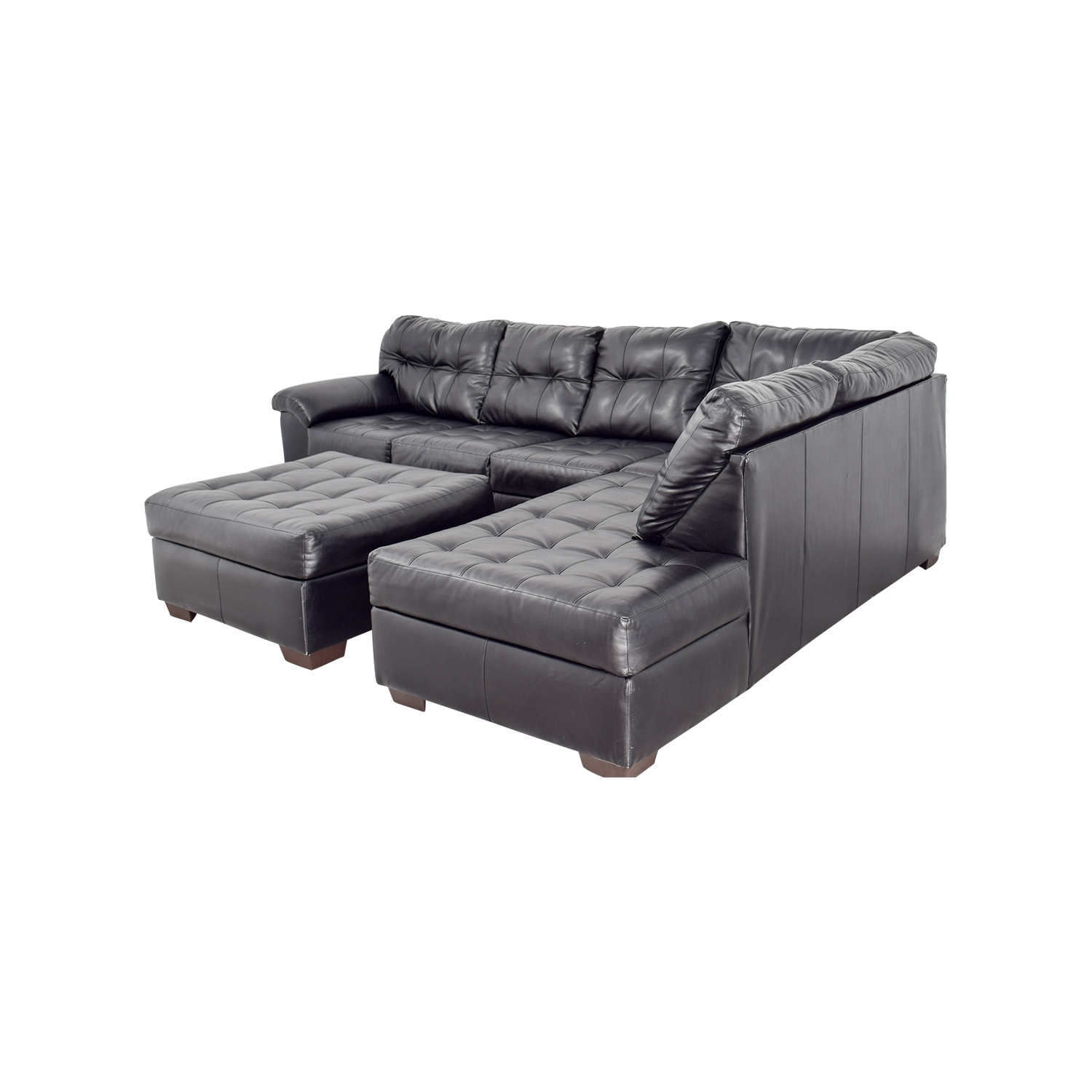 [%81% Off – Black Leather Tufted Sectional Sofa And Ottoman / Sofas Within 2019 Tufted Sectional Sofas With Chaise|tufted Sectional Sofas With Chaise Regarding Well Liked 81% Off – Black Leather Tufted Sectional Sofa And Ottoman / Sofas|fashionable Tufted Sectional Sofas With Chaise Intended For 81% Off – Black Leather Tufted Sectional Sofa And Ottoman / Sofas|trendy 81% Off – Black Leather Tufted Sectional Sofa And Ottoman / Sofas For Tufted Sectional Sofas With Chaise%] (View 9 of 20)
