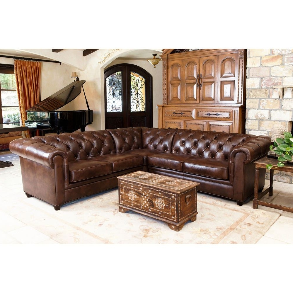 Abbyson Sectional Sofas For Trendy Abbyson Living Tuscan Tufted Top Grain Leather 3 Piece Sectional (View 4 of 20)