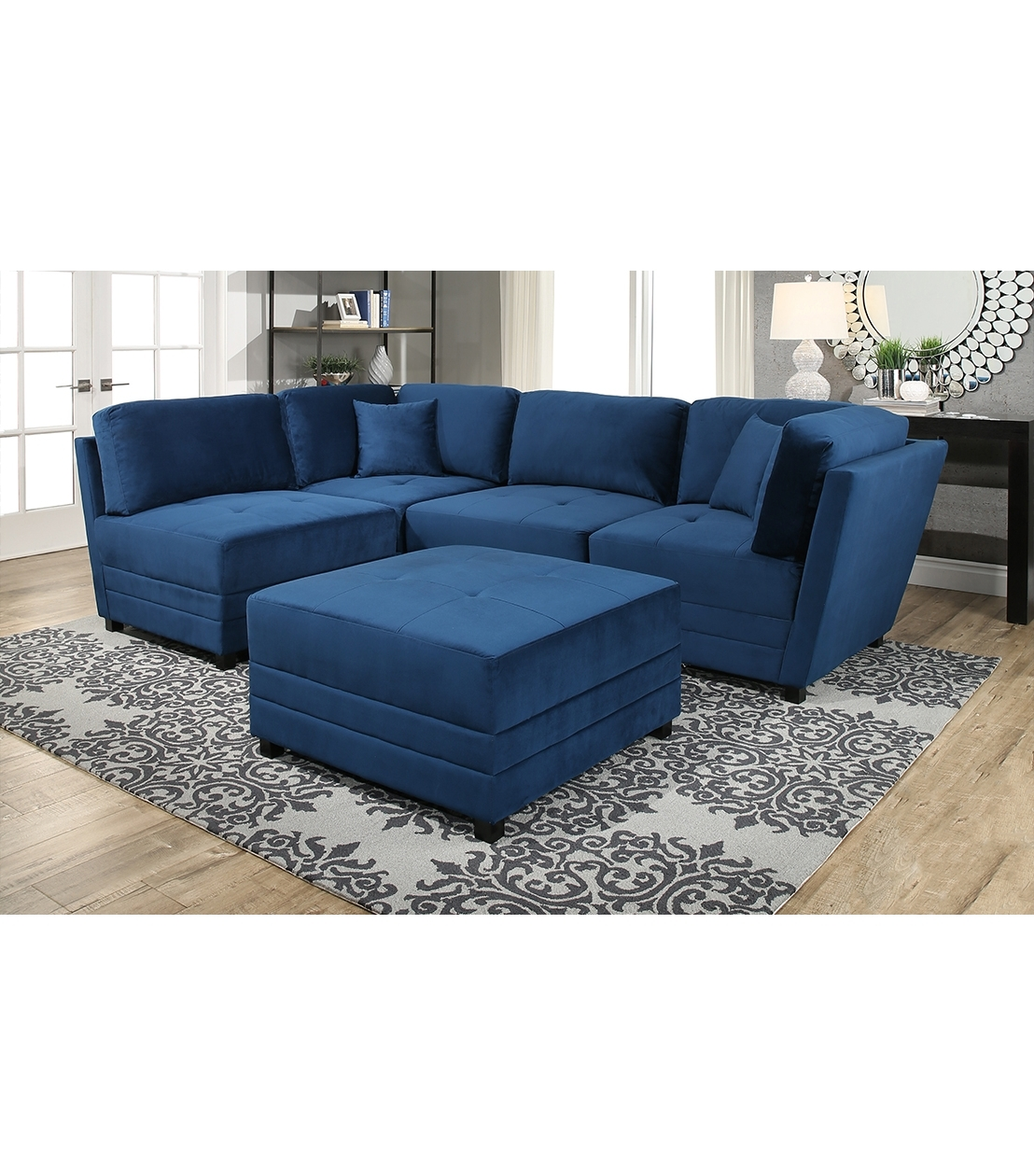 Abbyson Sectional Sofas Intended For Current New Arrivals : Leyla Sectional, Blue (View 12 of 20)