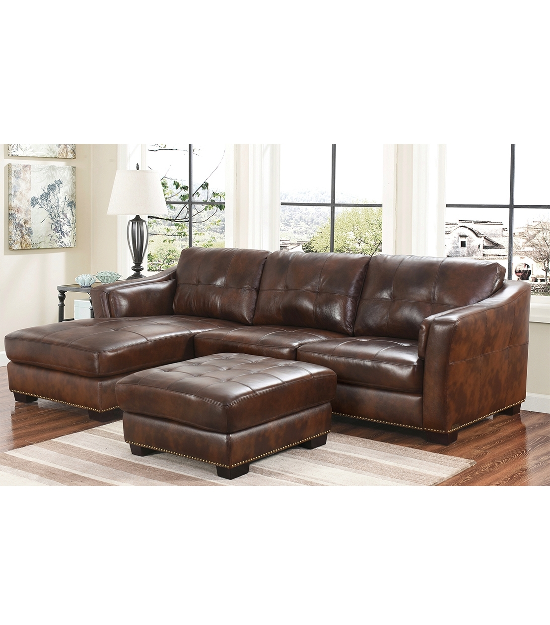 Abbyson Sectional Sofas Within Fashionable Sectionals : Rosemary Leather Sectional (View 9 of 20)