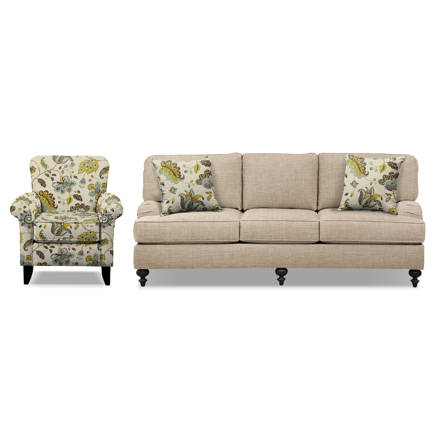 "Accent Sofa Chairs Regarding Trendy Avery Taupe 86"" Sofa And Accent Chair Set (View 11 of 20)"