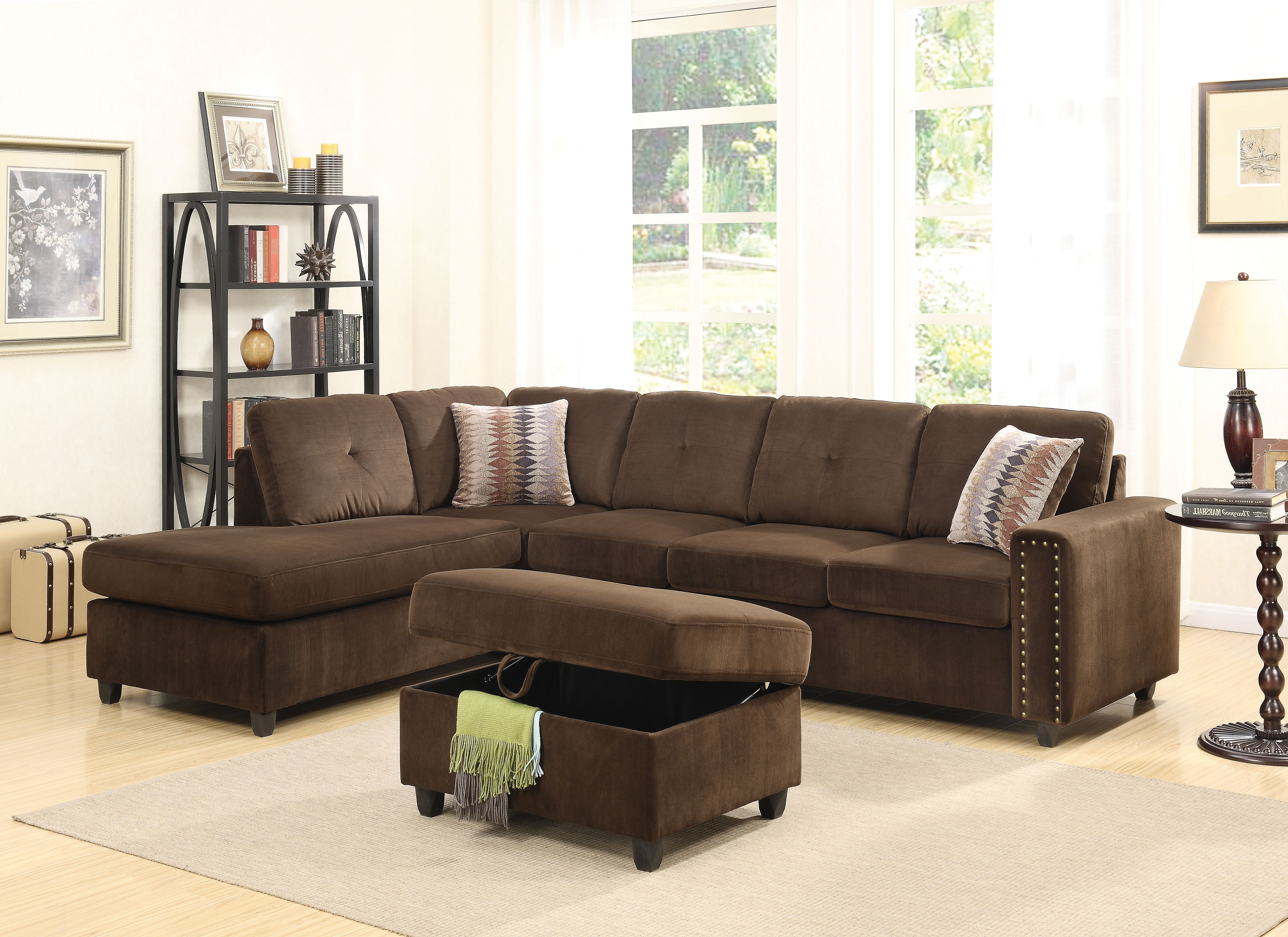 Acme Belville Reversible Sectional Sofa With 2 Pillows, Chocolate Throughout Well Liked Chocolate Sectional Sofas (View 1 of 20)