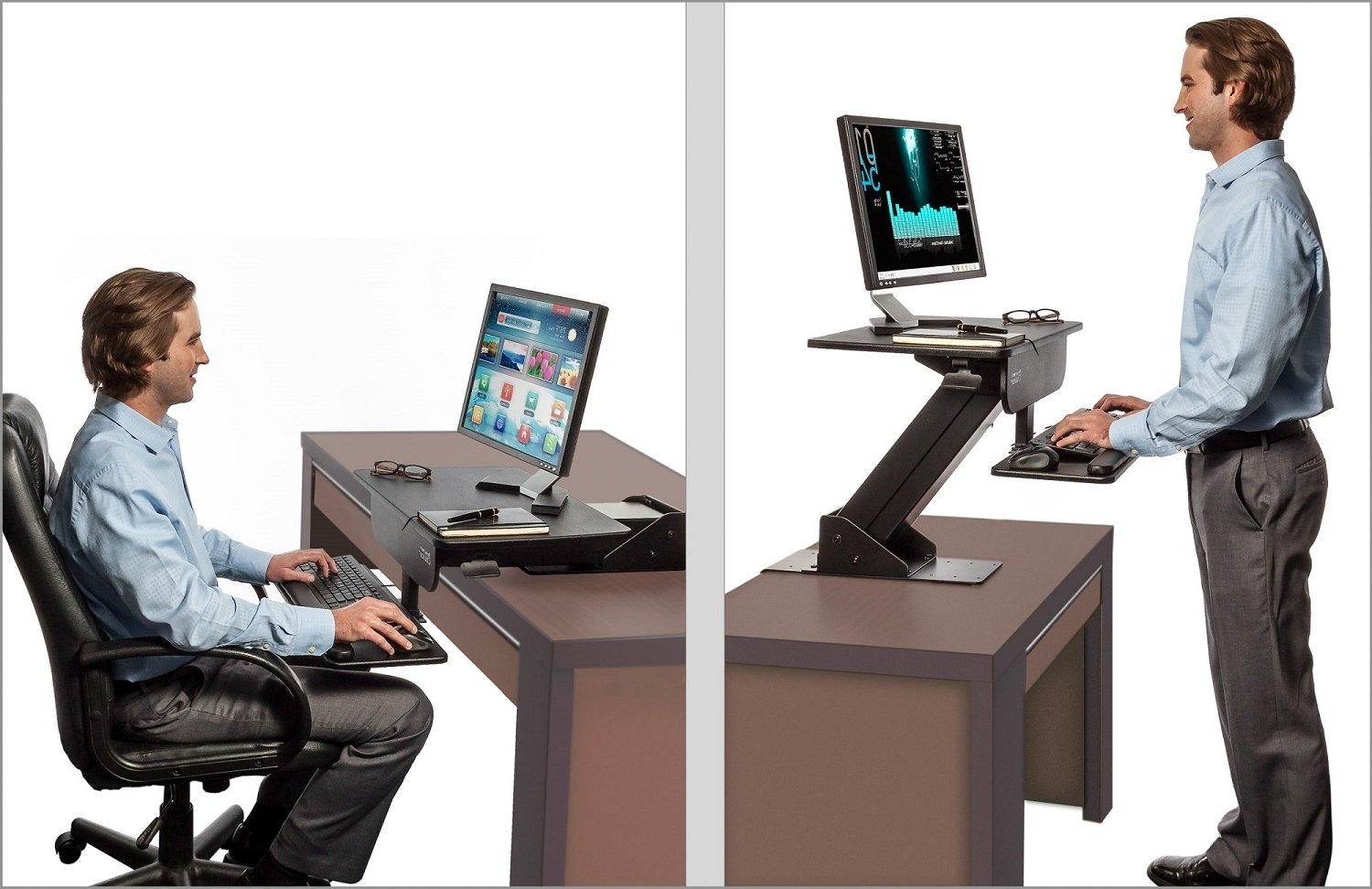Adjustable Height Gas Spring Easy Lift Standing Desk Sit Stand Up With Preferred Standing Computer Desks (Gallery 17 of 20)