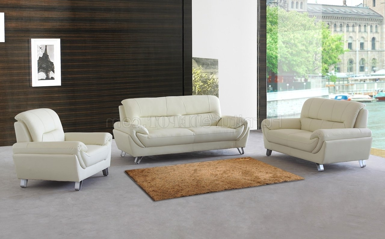 Almond Leather Modern Sofa, Loveseat & Chair Set W/options Regarding Popular Contemporary Sofas And Chairs (View 13 of 20)