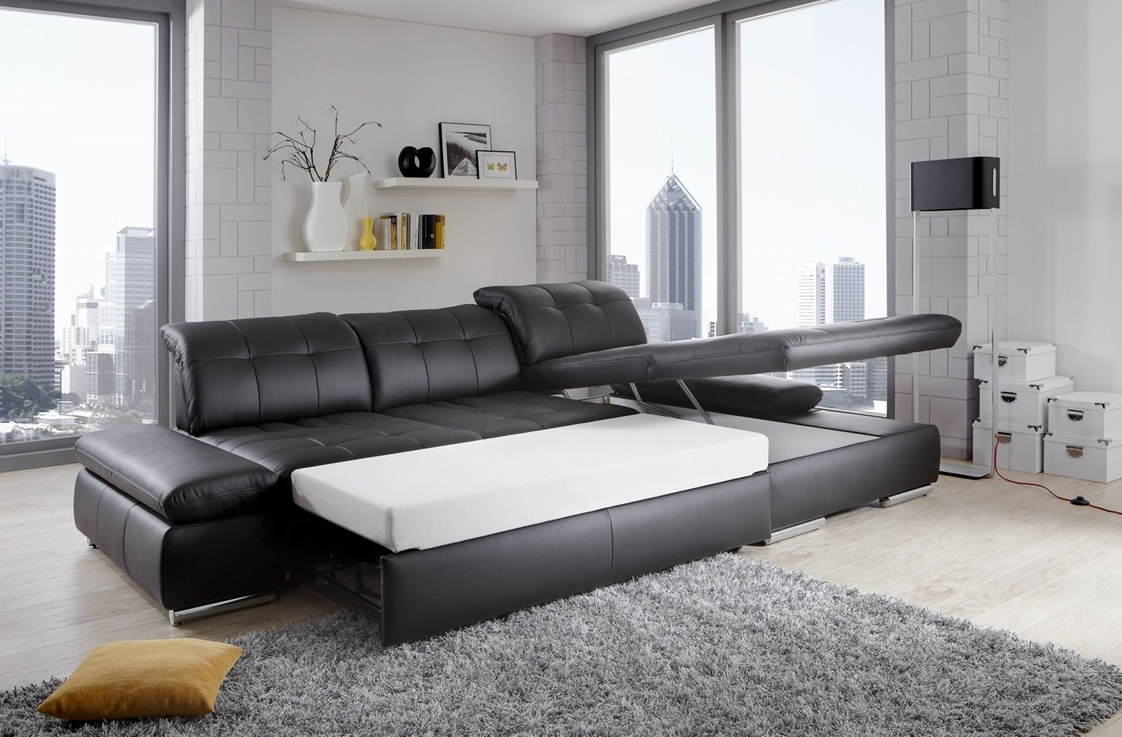 Alpine Sectional Sofa In Black Leather Left Chaise Pertaining To Fashionable Nj Sectional Sofas (View 3 of 20)