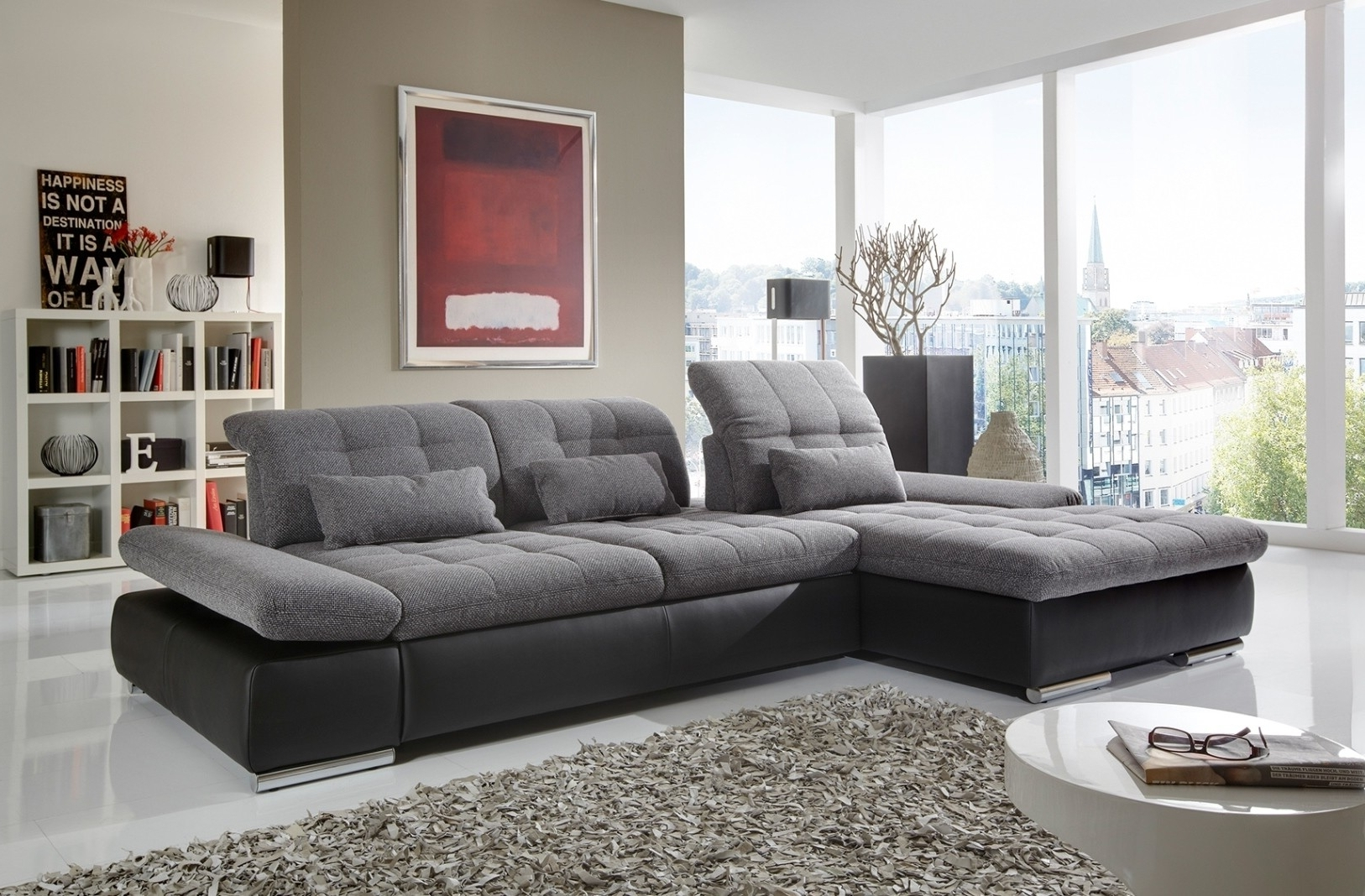 Alpine Sectional Sofa In Grey Fabric And Black Leather Left Chaise In Newest Trinidad And Tobago Sectional Sofas (View 8 of 20)
